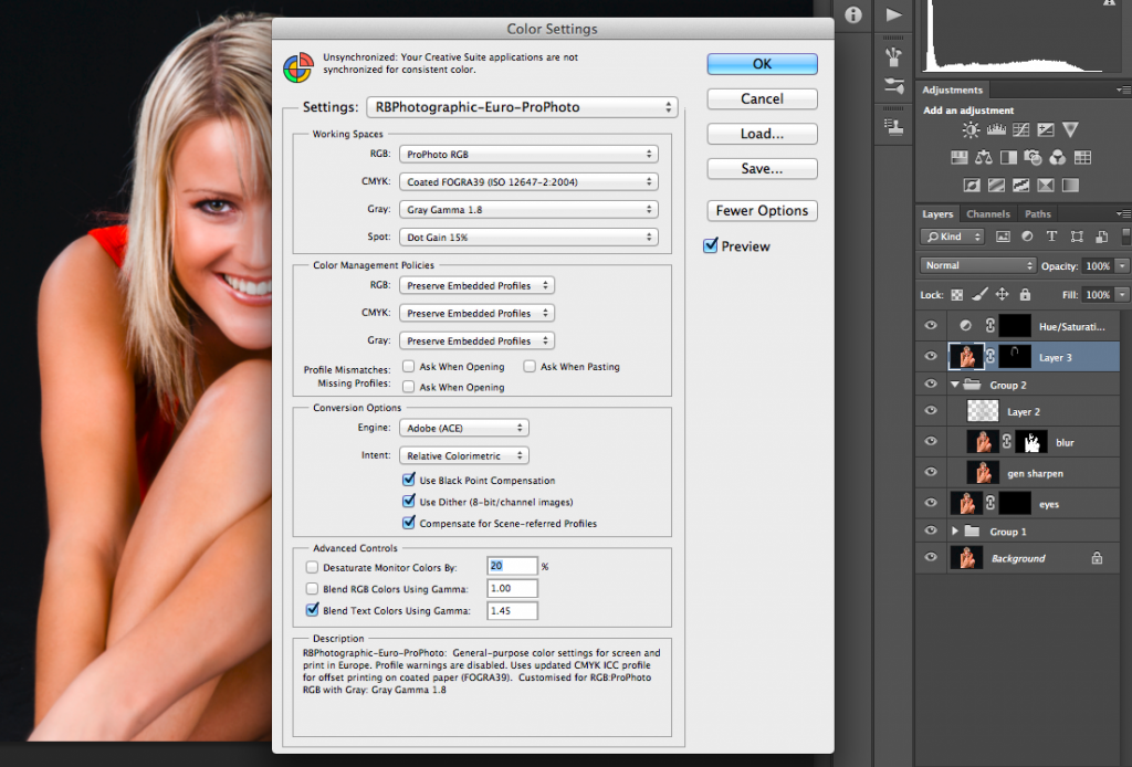 Photoshop Colour Settings