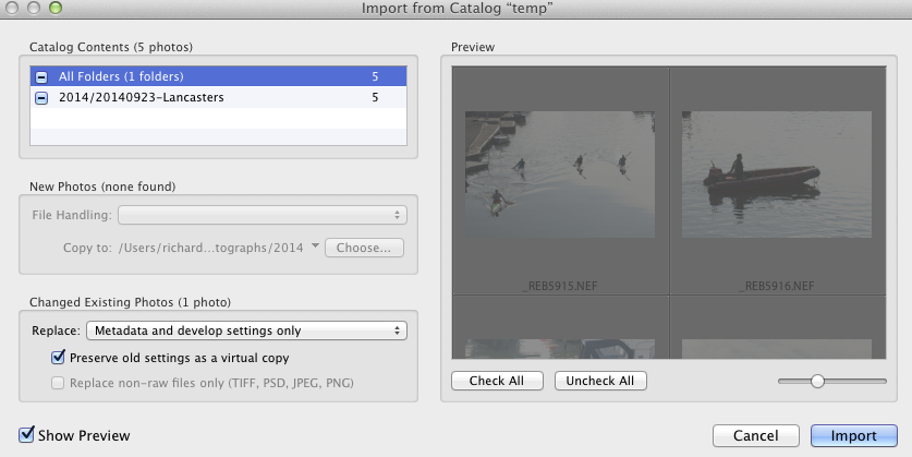 Dealing with duplicate files on importing another Catalogue
