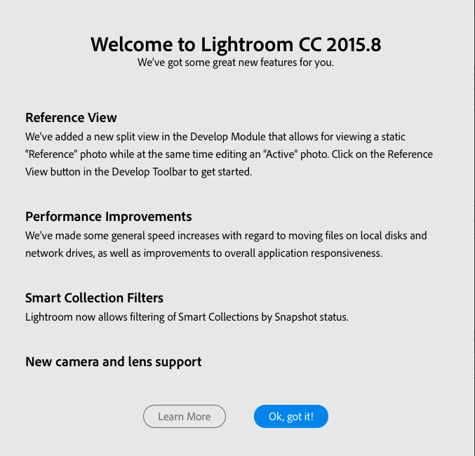 Welcome to Lightroom CC 2015.8