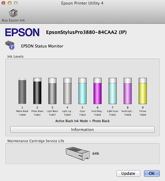 Epson Ink status